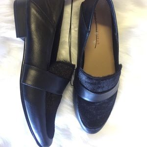 NWT black faux fur leather black loafer oxford 8.5